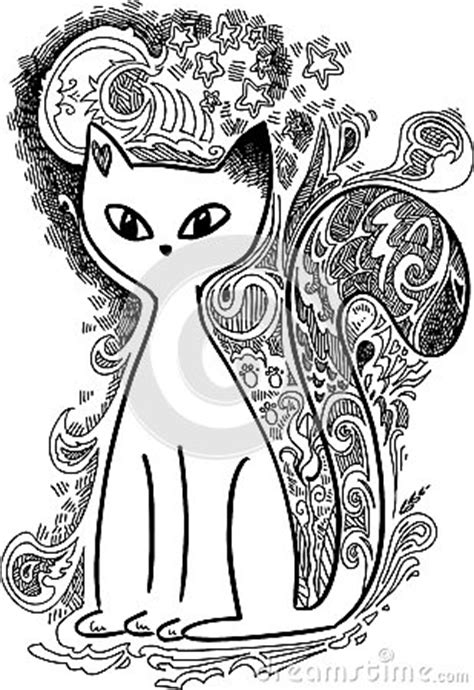 cat   moonlight sketchy doodles stock photo image