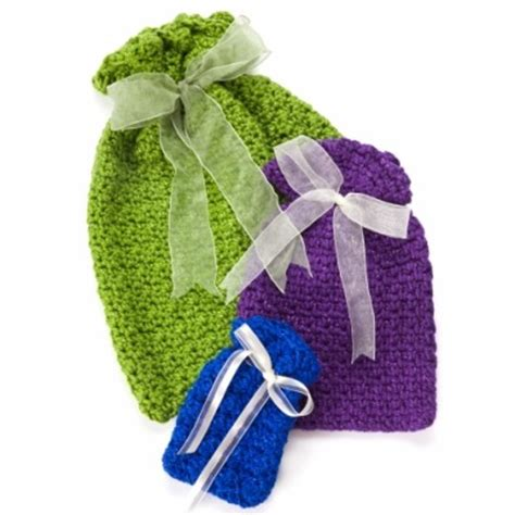 Crochet Pattern Gift Bag | caron crochet gift bags crochet pattern yarnspirations