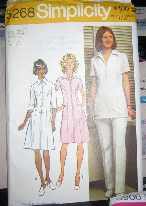 Sewing Pattern Uniform | vintage nurses uniform vintage sewing pattern pantsuit