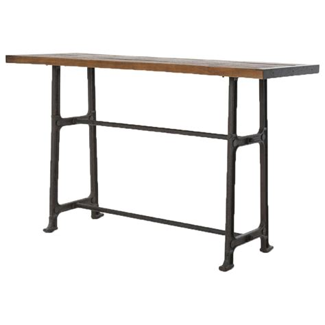 Bar Table Dining Wolcott Industrial Loft Iron Bleached Oak Dining Bar Table
