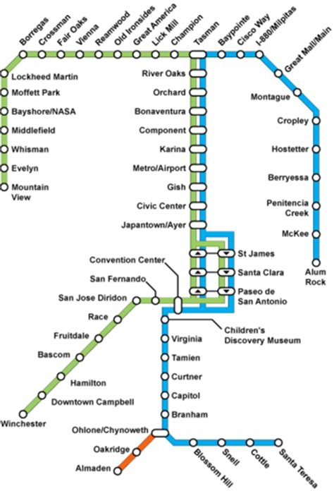 vta light rail map mountain view winchester transit unlimited
