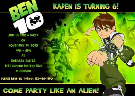 Ben 10 Birthday Invitation Cards Templates by Birthday Invitation Ben 10 Images Invitation Sle And
