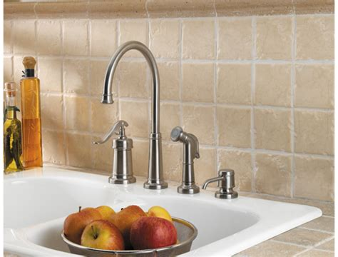 price pfister gt26 4ypk ashfield brushed nickel one handle pfister gt26 4ypk ashfield 4 hole kitchen faucet with