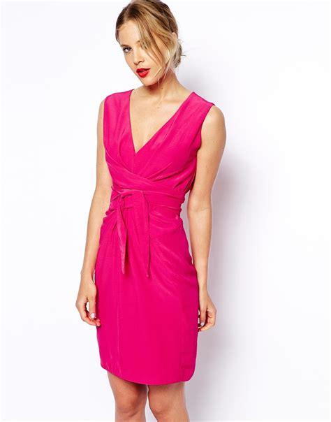 Dress Tulip lyst asos tulip dress with tie detail in pink