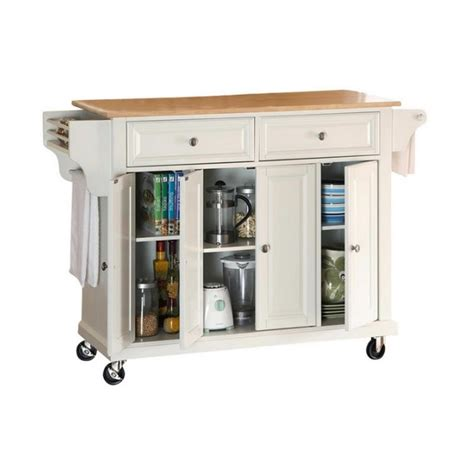 crosley furniture kitchen cart crosley furniture wood top kitchen cart in white finish kf30001ewh