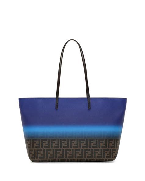 Fendi Tote Bag fendi painted zucca medium roll tote bag in blue lyst