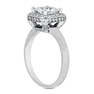 cutting double crown engagement ring princess diamond halo three row vintage
