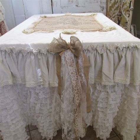 Shabby Lace Table Cloth 150 150 by Tablecloth Runner Shabby Farm House Vintage By