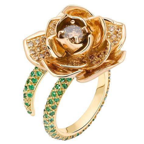 costa ring de costa gold tsavorite cognac lotus ring for
