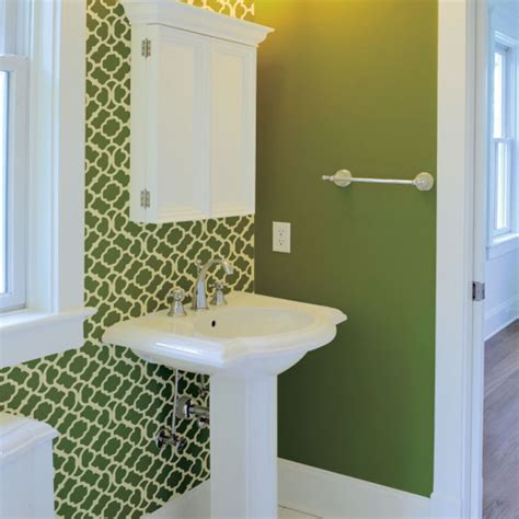 bathroom wall stencil ideas moroccan bathroom green and white painted stencil on one wall contemporary bathroom