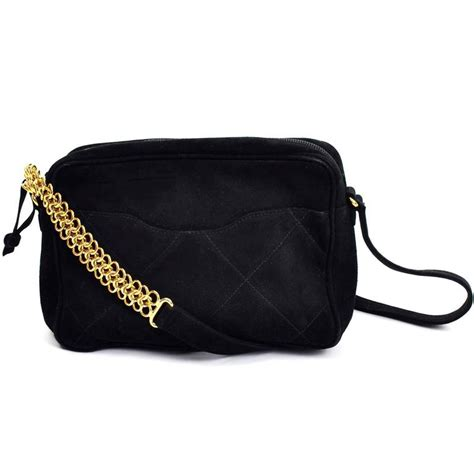 Purse Trend Black With A Touch Of Gold by Aquascutum Black Suede Quilted Crossbody Handbag With Gold