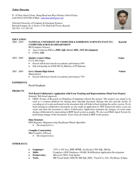 Resume Sles For College Graduate resume of science graduate resume for internship in