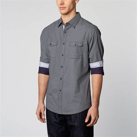 smash trends modern cargo navy woven button up shirt navy s smash trends weekend wardrobe touch of modern