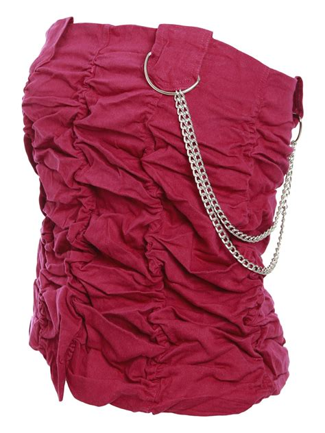Steals Womens Clothes So He Can Sleep Buried In Them by Womens Bandeau Ruched Chain Vest Top