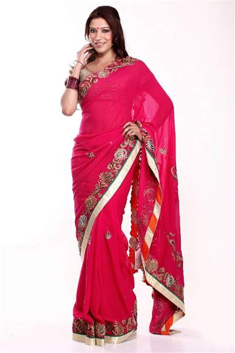Patchwork Sarees - buy fuchsia patchwork saree