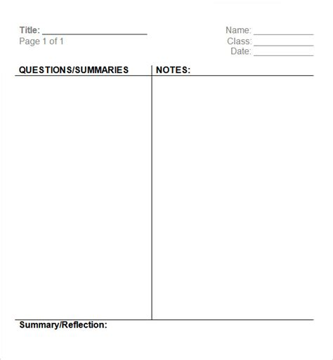 Cornell Notes Template Microsoft Word 16 Sle Editable Cornell Note Templates To Download Sle Templates