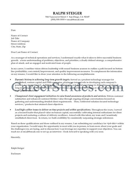 technology cover letter sle cover letter for information technology