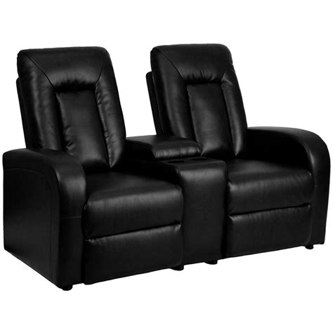 Recliners Theater by Flash Furniture Black Leather 2 Seat Home Theater Recliner