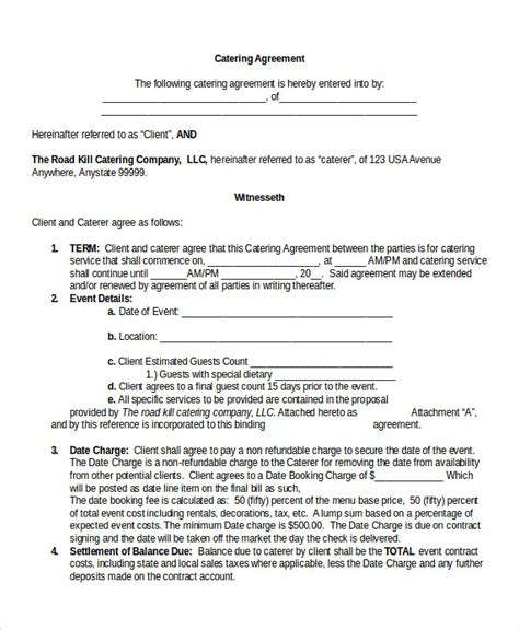 Catering Contract Template Word by 13 Contract Templates Free Sle Exle Format
