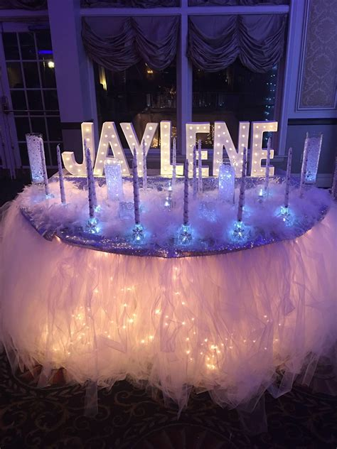 Candle Ceremony Set Up Winter Wonderland Sweet 16 Winter Centerpieces Sweet 16