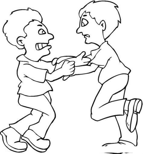dibujos de nios peleando para colorear dibujo de 2 hombre peleando para pintar y colorear una