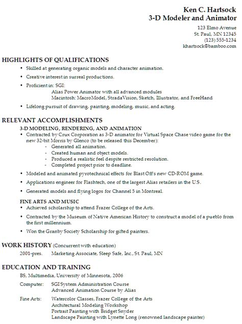 Career Objective Examples For Resume by Resume For A 3 D Modeler And Animator Susan Ireland Resumes