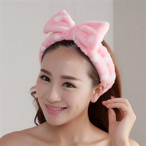 Makeup Headband Hello Pink l pink big bow dot soft towel hair band wrap headband for bath spa make up ebay
