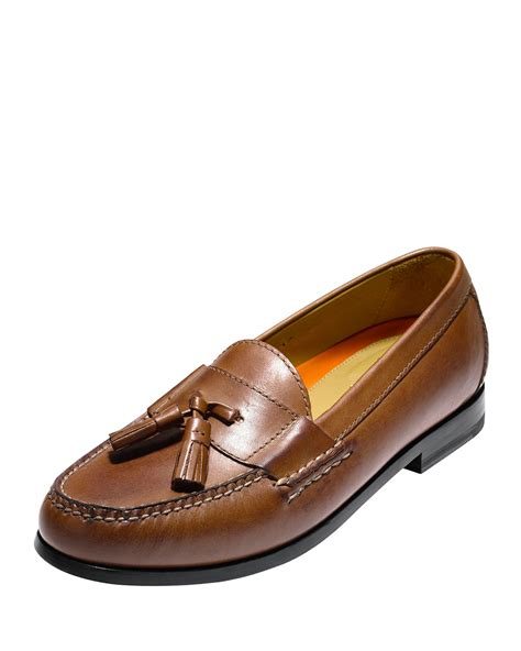 brown tassel loafers cole haan pinch grand tassel loafer in brown for lyst