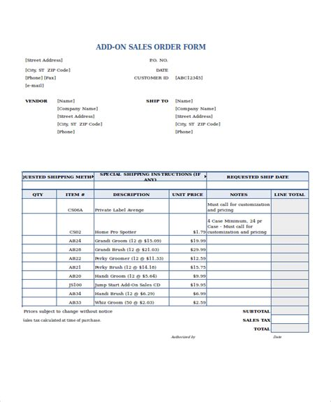 company order form template excel order form template 18 free excel documents