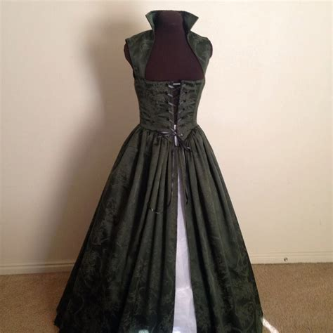 Jv Dress Forest Fit L forest green damask renaissance gown dress made to fit