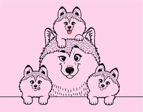 imagenes de la familia de animales dibujo de familia husky pintado por en dibujos net el d 237 a