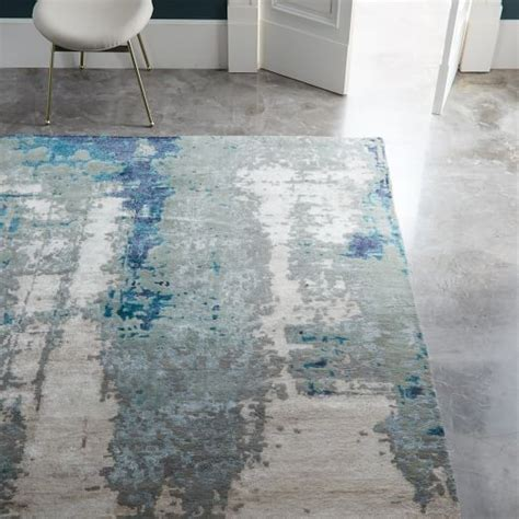 west elm blue rug painterly abstract rug blue west elm