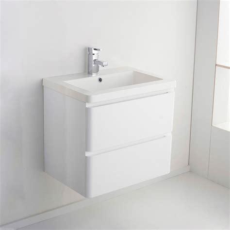 Wall Hung Basin Vanity Unit by Arizona Wall Hung White Gloss Basin Vanity Unit 600mm