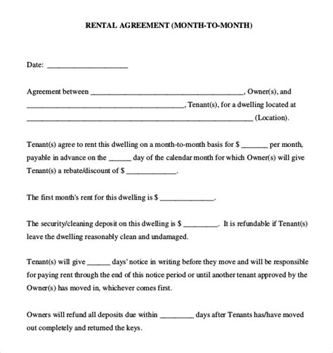 doc 604804 8 simple rental agreement form bizdoska com