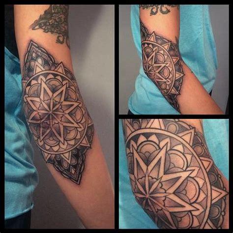 mandala tattoo around elbow black and gray elbow mandala by laura jade tattoos