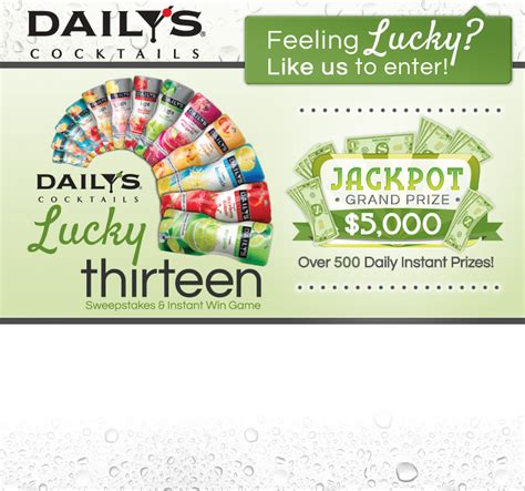 Daily Instant Win Games - daily s cocktails lucky 13 sweepstakes instant win game
