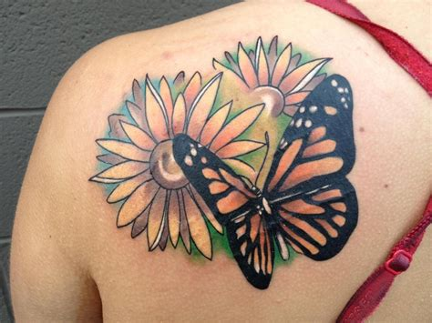 butterfly tattoo on shoulder sunflower tattoos designs ideas and meaning tattoos for you
