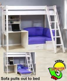 bunkbed with futon and desk thuka maxi maxi white 7 loft