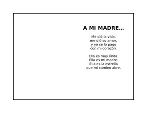 spanish mothers day poems cute mother s day poem in spanish where kids can put