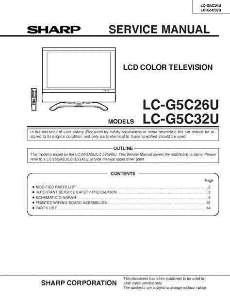 Inverter Tv Lcd Sharp Lc 22l10m Gy sharp lc26p70e lcd service manual free