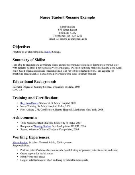 Student Resume Summary Resumes For Nursing Students Entry Level Resume Sles Writing Summary Of Skills And