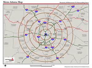 Map Of Atlanta by Atlanta Metro Proximity Ring Map Atlanta Georgia Mappery