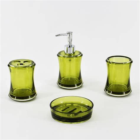 shape olive green bathroom accessory set
