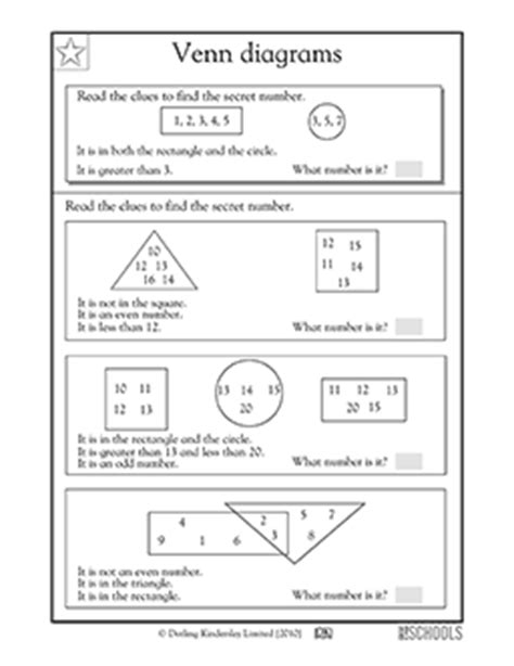 reading venn diagrams worksheets 1st grade math worksheets venn diagrams part 3