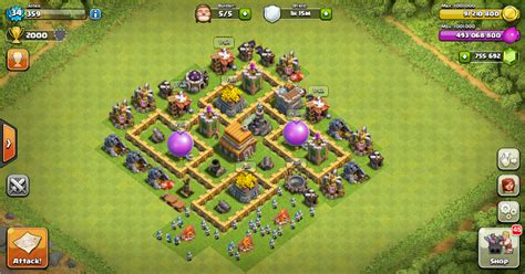 layout coc th 6 yang kuat thropy base clash of clans th 5 terbaru design base