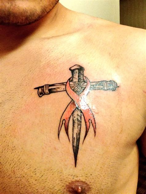 cross cancer ribbon tattoo cross with breast cancer ribbon faith breastcancer