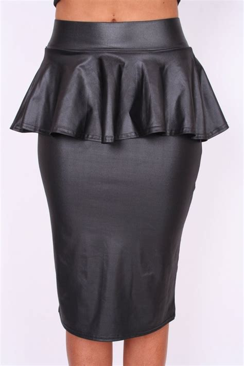 black look stretchy peplum midi pencil skirt from