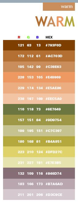warm in hex rgb code for the home rgb code color inspiration and pantone
