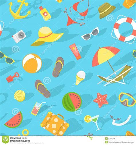 background pattern beach summer beach essentials seamless pattern stock vector