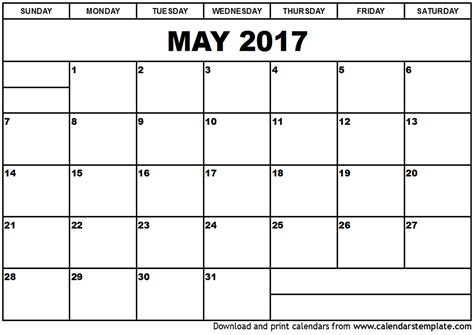 printable calendar may 2017 may 2017 calendar template